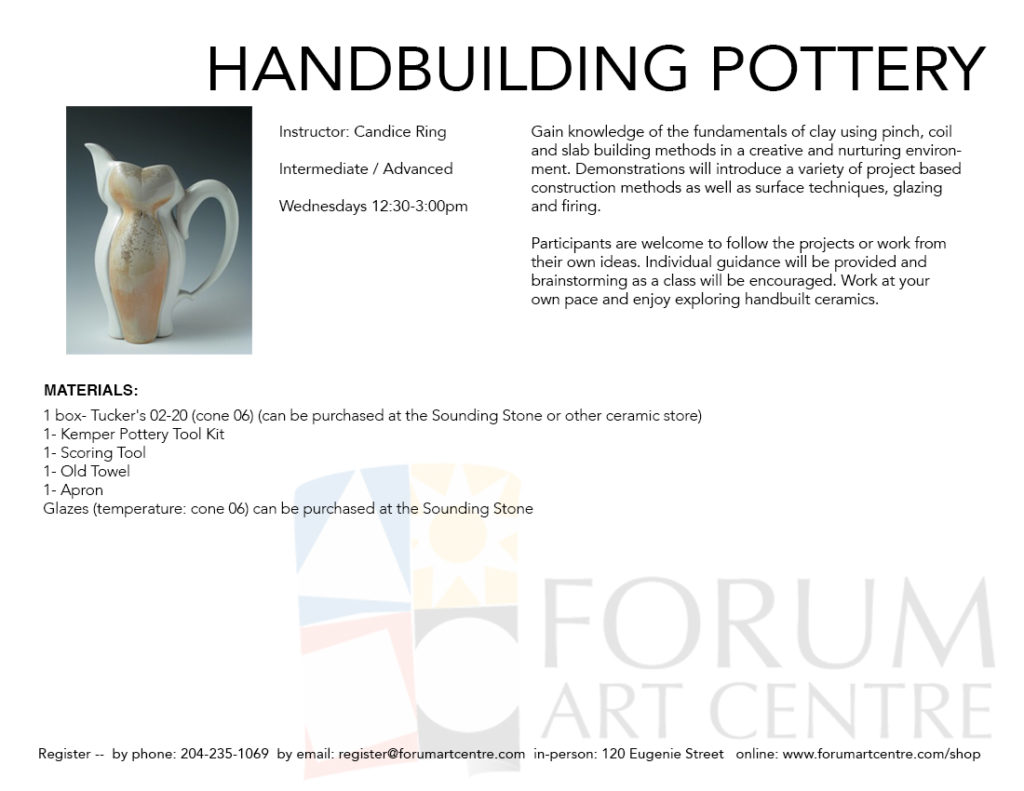 Handbuilding Pottery | Forum Art Centre