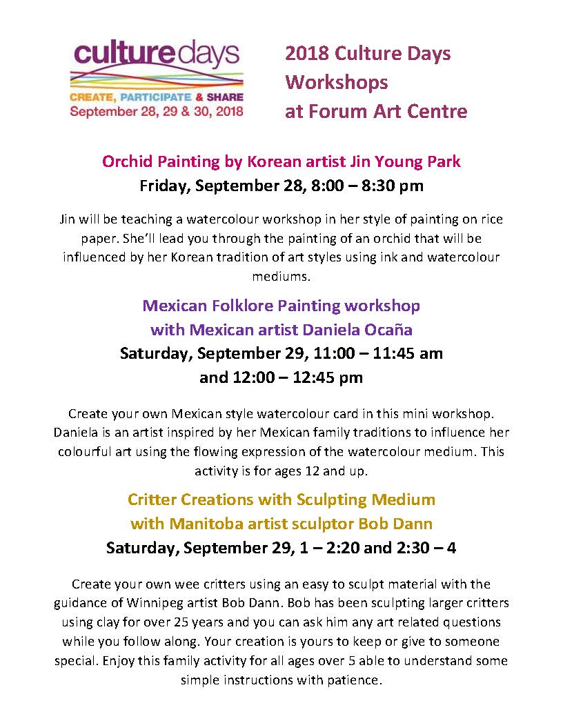 Culture Days | Forum Art Centre